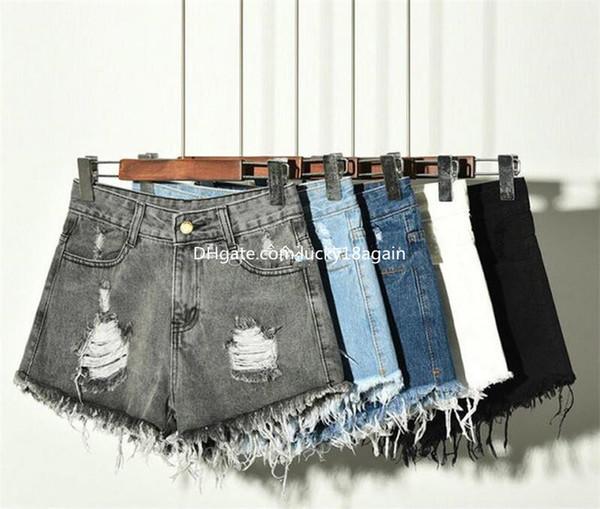 Plus Size S-6XL Fashion Girls Vintage Ripped Shorts Womens High Waisted Stonewash Denim Shorts Jeans Hot Pants