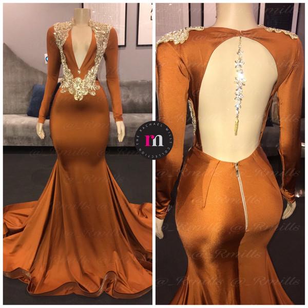 Hot manica lunga promenade della sirena Abiti 2020 Sparkly di cristallo in rilievo Backless scollo a V Brown africano sera spettacolo Gown Dress