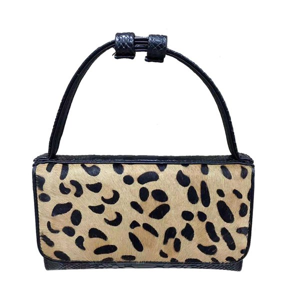 Fashion Women Sexy Snake Pattern Leather Shoulder Bag Winter Horse Hair Khaki Leopard Tote Bags with Chain