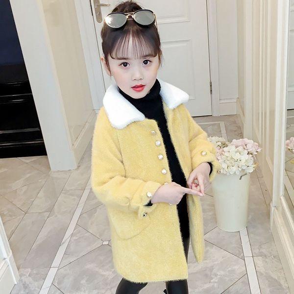 Rosa amarelo crianças trench coat de lã casacos para crianças moda 2019 inverno gola de pele longa jaquetas meninas outerwear tops clothing