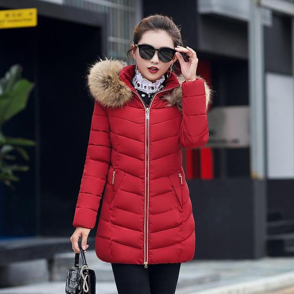 Kadınlar Kış Aşağı Palto Sıcak Kalın Ceket Ince Pamuk-yastıklı Faux Kürk Yaka Kapşonlu Parka Coat Lady Artı Boyutu Giyim Giyim Toptan