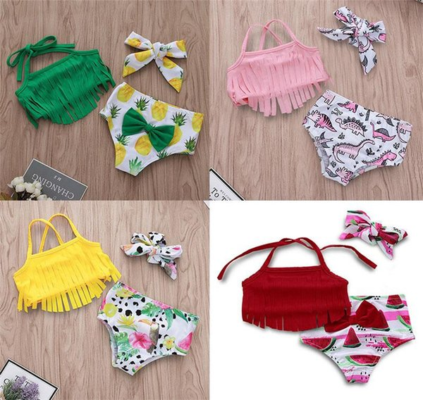 top popular Children's Swimsuit Female Baby Strap Fringe Top + Print Shorts with Bow Headband 3 Pieces   Set 2019 Summer Bikini Children's Swimweardc474 2021