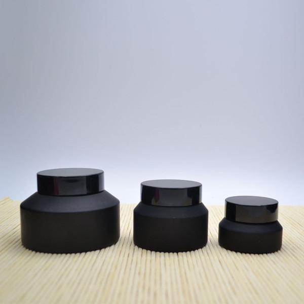 10 x 15G 30G 50G Frost Cream Glass Matte Jar Pot mit Schwarzen Deckeln Weiße Dichtung Hautpflege Gesichtsmaske Kosmetische Verpackungsbehälter