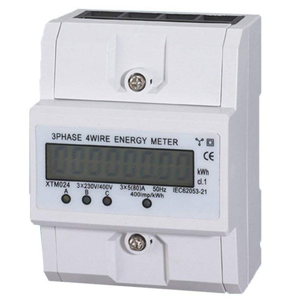 3x5 (80A) Energy Meter Electric KWH Triphase DIN Rail Mount LCD