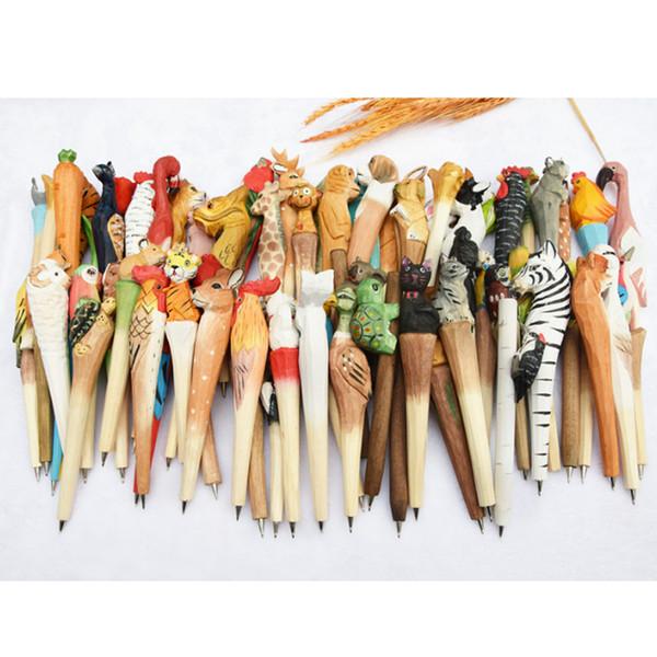 Lote Animais De Madeira escultura caneta esferográfica de madeira Canetas de ponto de bola escultura artesanal estudante ball-point Escritório Escola Suprimentos Crianças Presentes