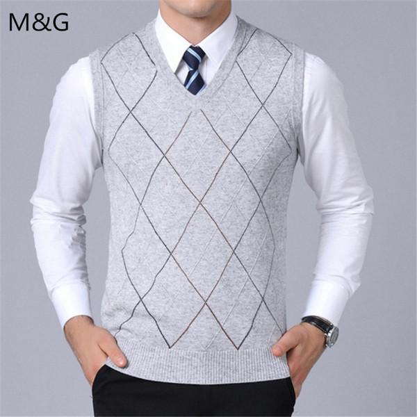 Automne Style Coréen Casual Hommes Vêtements Nouvelle Marque De Mode Chandail Pour Hommes Pullover Gilet Slim Fit Jumpers Tricots Plaid Pull