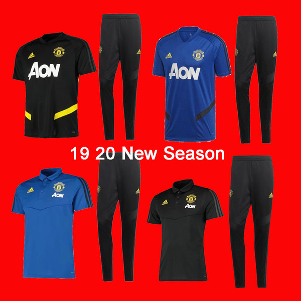 best selling 19 20 new season Manchester short sleever united soccer training suit POGBA tracksuits LUKAKU RASHFORD Maillot de foot chandal