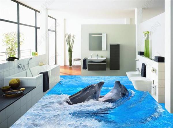 Benutzerdefinierte Größe 3D Wandgemälde Wallpape 3D Badezimmer Nette Dolphin Tour Abbildung Boden Dekorieren Wandbild