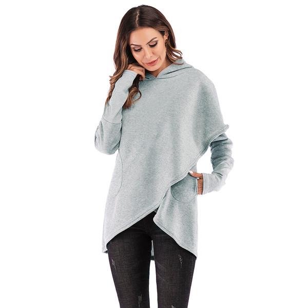 Mode Feste Hoodies Frauen Asymmetrischer Saum Beiläufige Lose Fleece übergroßen hoodie XXXL Plus Größe Pullover Sweatshirts Mit Kapuze