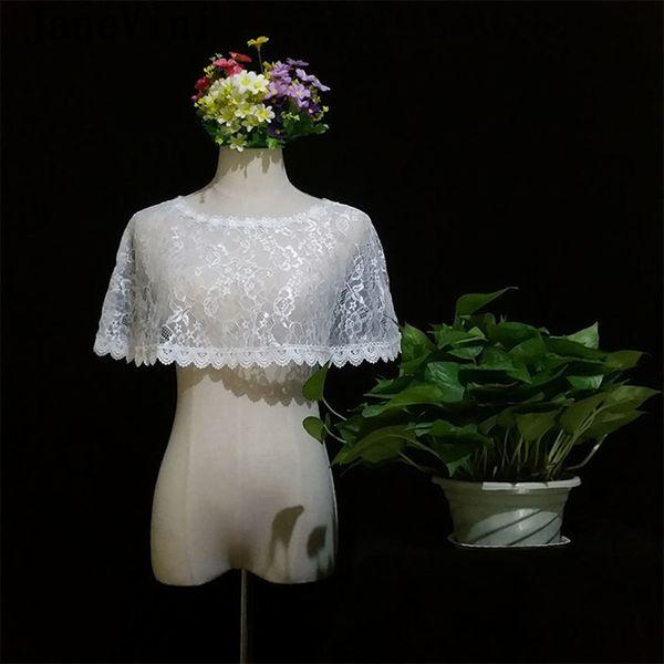 JaneVini Boho White Bridal Lace Bolero Wraps Scoop Neck Vintage Appliques Edge Women Short Cape Wedding Jackets Stoles Summer Chal De Fiesta