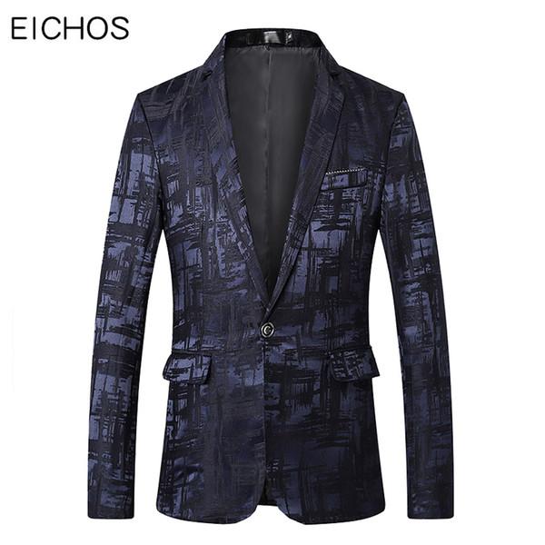 New Automne Hommes d'affaires Veste de costume marque de mode imprimé de soirée de mariage Blazer Homme Mandarin Collar Blazer Hommes Costume Tenue