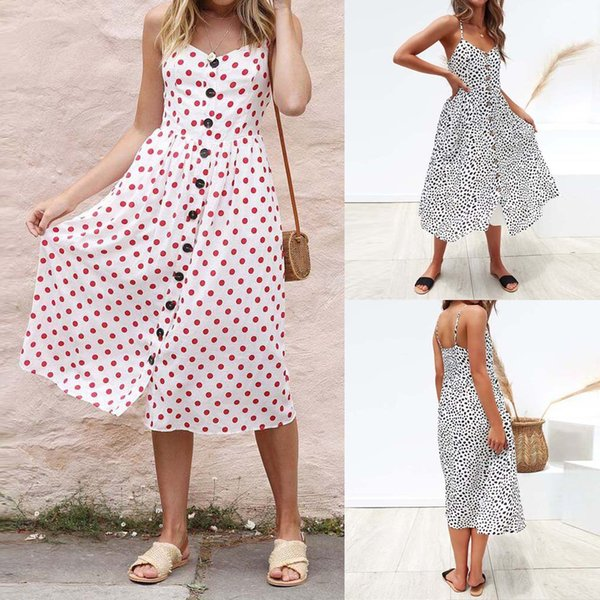Feitong Women Summer Pockets Strappy Single Breast Sexy Dot stampa V Neck Flare Dress Abiti in poliestere Donna 2019 Summer Dress
