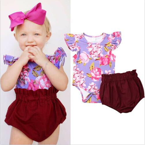 2019 Newborn Baby Girls Clothes Cute Floral Bodysuit Tops+Ruffle Panties Shorts 2Pcs Toddler Kids Cothes Summer Outfit Set 0-24M