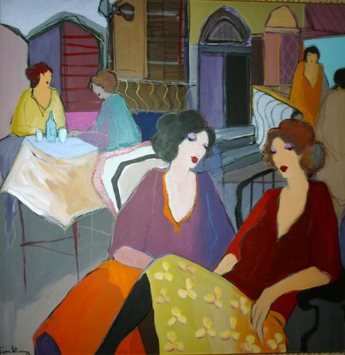 Itzchak Tarkay Nouvelles figuración Inicio Obra de Senhora retrato a mano de pintura al óleo sobre lienzo cóncavas y convexas textura IT123