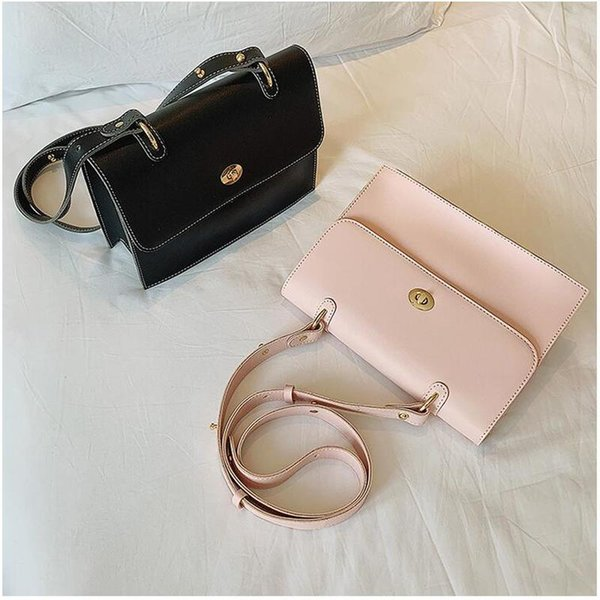 Briefcase Handbag Female Messenger Bag 2019 New Shoulder Bag Soft Leather Totes Simple PU Flap Fashion Women Big Crossbody