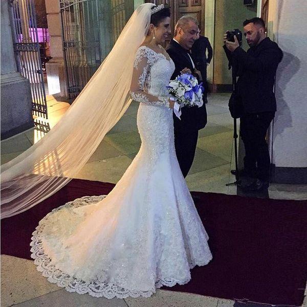 2019 sirena vestido de novia de la vendimia apliques de encaje con cuello en V ilusión manga larga vestidos de novia Robe De Mariage tamaño personalizado color