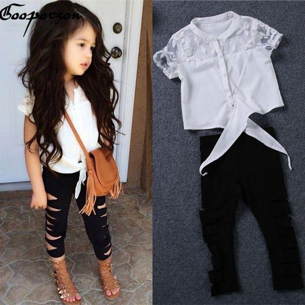 Las niñas de verano camisa de encaje blanco polainas rasgadas ropa de bebé niña conjunto marca de moda trajes niños ropa traje agujeros Q190523