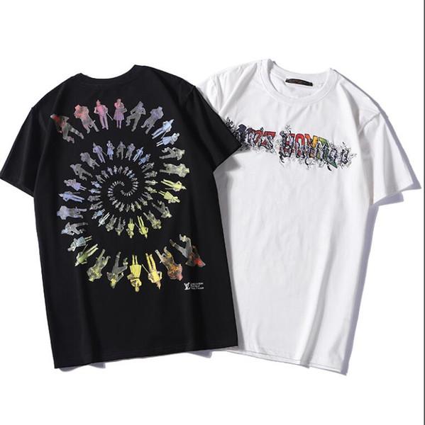 2019 street style men's T-shirt color print hip hop harajuku rock T-shirt classic black and white free shipping s-2 xl