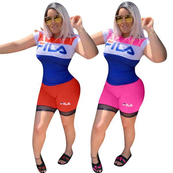 Женщины дизайнер лето 2 шт шорты комплект работает тренажерный зал спортивный костюм футболка круглый вырез с коротким рукавом пуловер шорты bodycon леггинсы панелями 559