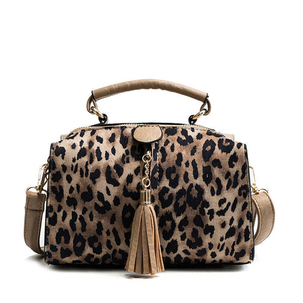 Leopard Pillow Hand Bag Female Winter New Fashion High Quality Personality Fringe Casual Wild Shoulder Messenger Bag