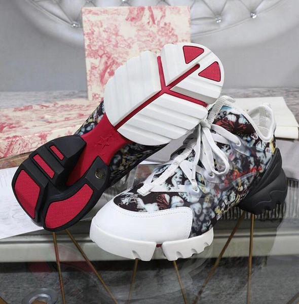 2019 Frühling-neue Ankunfts-Frauen-Art- Lace-up-Neopren-D-Connect Sneaker PVC Kalbsleder übergroße Sohle bequem Trainer mit Kastenstaubbeutel