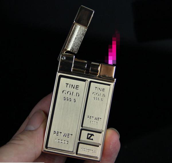 Accendino antivento accendino a forma di sigaretta accendino da uomo in metallo ultra leggero Accendino a gas in metallo butano senza fiamma rossa con scatola regalo