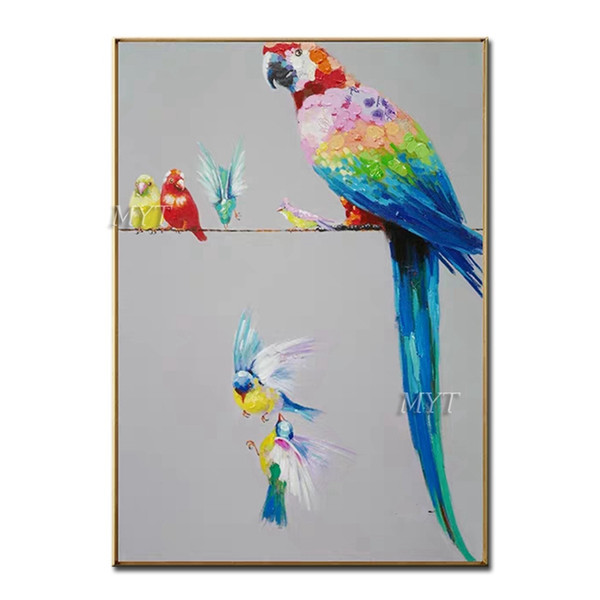 Mãe Parrot And The Kid Abstract pintura a óleo sobre tela para sala de estar Home Decor Fotos Wall Art 100% Handmade