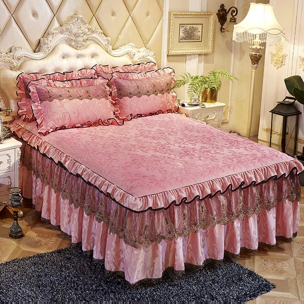 Pink Princess Lace Bedspread Bed Skirt Pillowcase 1/3pcs Velvet Thick Girls Bedclothes Bed Sheet Wedding Bedding Home Decoration
