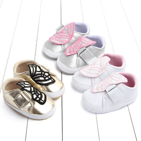 2019 Spring and autumn baby shoes infant soft embroidery butterfly footwear fashion kids toddler shoes gold silver white 18N1126