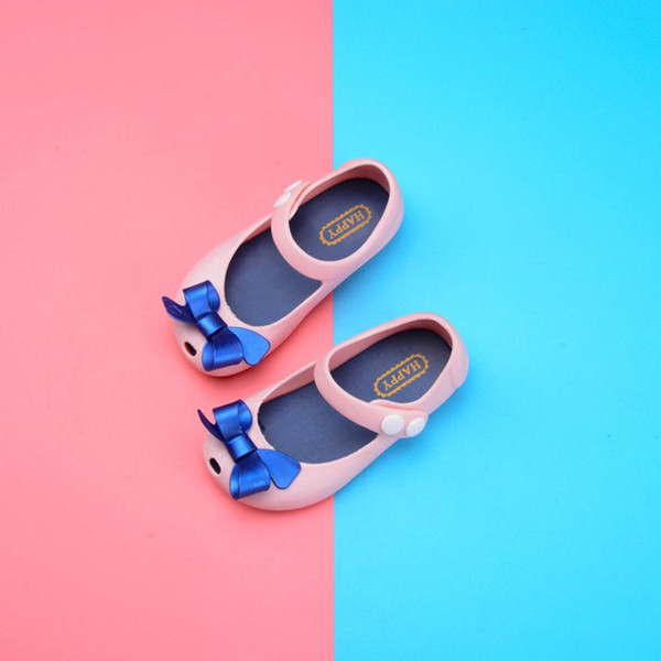 Girls Sandals Bow Tie Jelly Shoes Casual Children PVC Beach PVC Shoes Buckle Solid