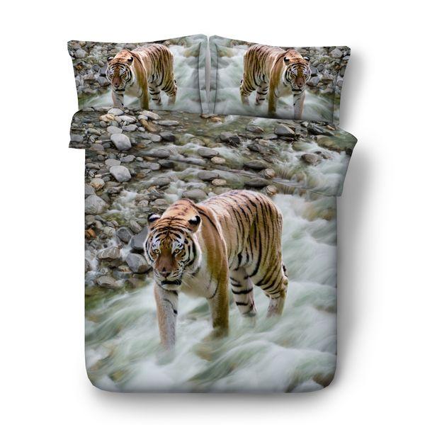 White Tiger Print Boys Bedding Sets 3PC No Comforter Duvet Cover Set Digital 3D Print 3PCS 1 Duvet Cover 2 Pillow Shams Vivid Animal