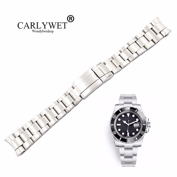 Carlywet 20 21mm Silver Brushed 316l Solid Stainless Steel Watch Band Belt Strap Bracelets For Gmt Submariner T190620