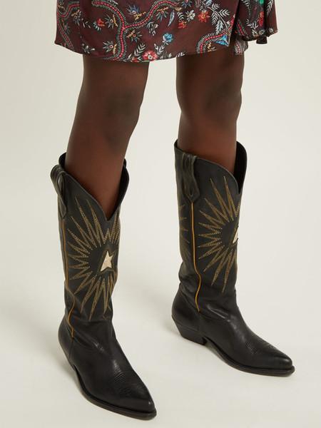 Yıldız Nakış Bayan Süet Diz Yüksek Çizmeler Uzun Bottines Siyah Kahverengi Tasarımcı Kış Kovboy Çizmeleri Tıknaz Topuklu Bayan Elbise Parti Ayakkabı