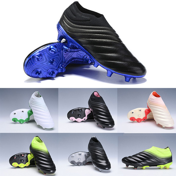 2019 New Copa 19+ FG Mens Slip-On Laceless Soccer Shoes Champagne Solar Black Red Utility Antiskid Wave Design Football Shoes Size 38-45