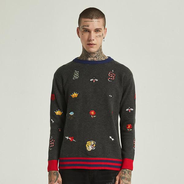 Nuovo stile all'inizio dell'autunno Maglione in tessuto di lusso da uomo ape corona ricamato girocollo maglione pullover maglione uomo e donna sciolto