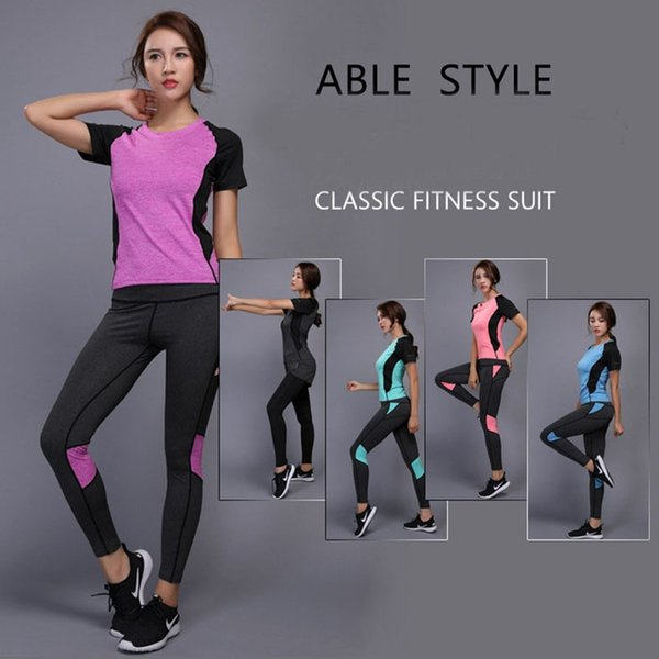 SJ-Maurie Running Suits Women Gym Fitness Clothing Sports Running Tracksuits T-shirt+Jogging Pants Slimming Bodysuit #562004