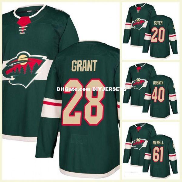 Minnesota Wild Ryan Suter Hockey Jersey Devan Dubnyk 28 Alex Grant 24 Matt Dumba 61 Brennan Menell Home Green Ice Hockey Jerseys Stitched