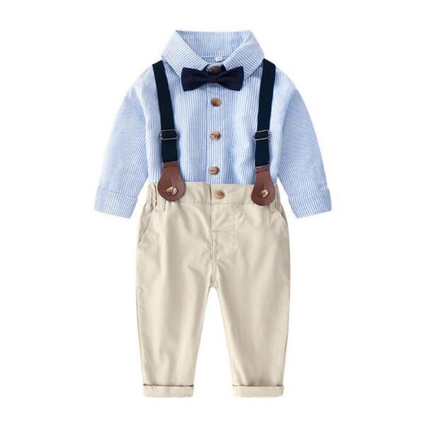 2019 bébé garçons vêtements ensemble enfants chemise à manches longues en coton à carreaux + pantalon jarretelle costume 2pcs ensembles enfants tenues