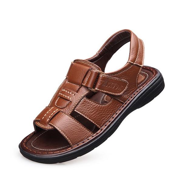 Großhandel Echtes Leder Sommer Herren Sandalen Leder Herren Sandalen Hochwertige Outdoor Freizeit Strand Rutschfeste Schuhe Für Herren Schuhe Von