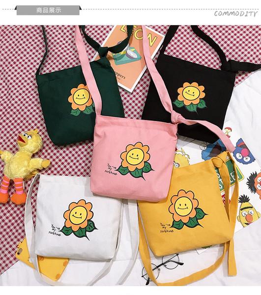2019 new Japanese and Korean style lovely flower canvas cross-body bag sunflower single-shoulder canvas bag