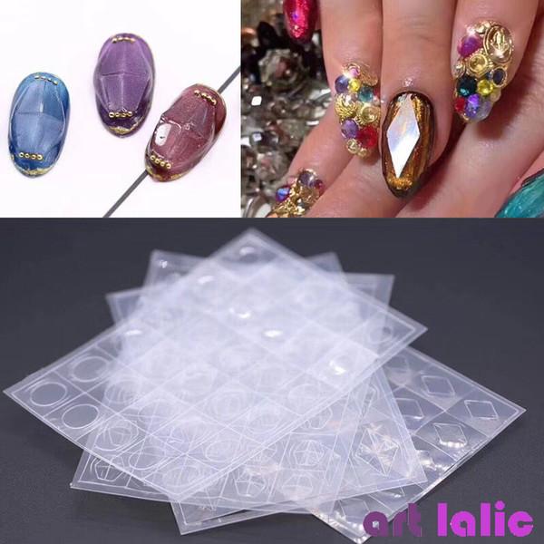 1 hoja Diamante Uñas Piedras preciosas Guías de plantilla Molde Transparente 3D Pegatinas huecas Plástico Molde Copos DIY Gel UV Herramientas de manicura