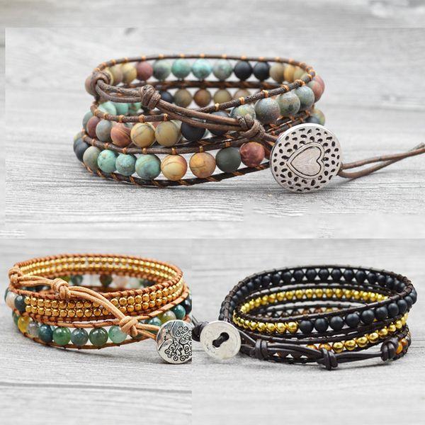 Multilayer Armband Bead Multilayer Leder Wrap Naturstein Europäischen Charm Armband Bead Stein Leder Magnetische Armband Frau Schmuck