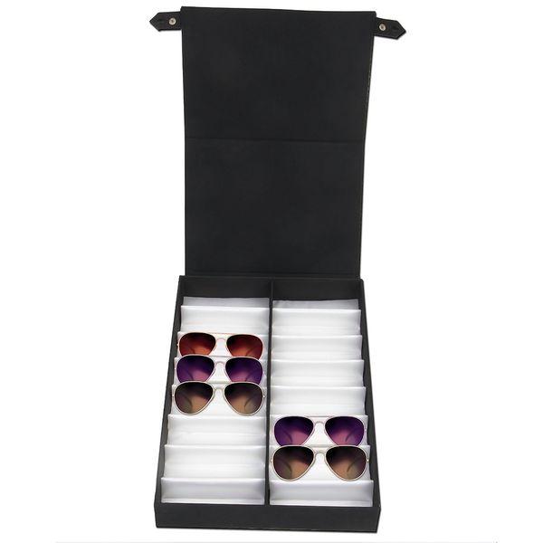 vetrina Occhiali 16 paia scatola con coperchio pieghevole per gli occhiali da sole di dialogo occhiali (nero + bianco)
