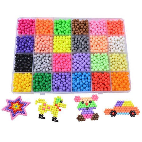 Tijolos hama contas 24 cores aqua beads modelo puzzle brinquedos mágicos aquabeads keychain brinquedos educativos brinquedos de água para crianças