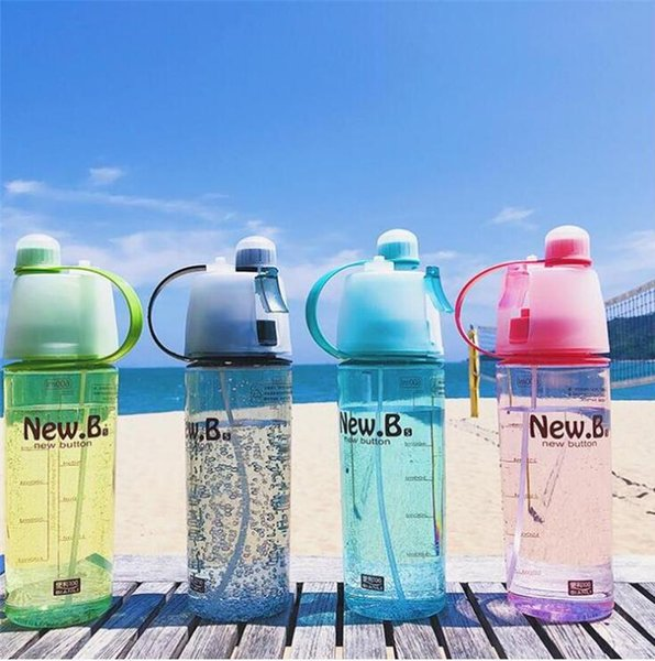 400ml Spray Sports Water Bottle Portable Outdoor Sport Water Kettle Anti-Leak Drinking Cup with Mist camping plastic bottle FFA1865