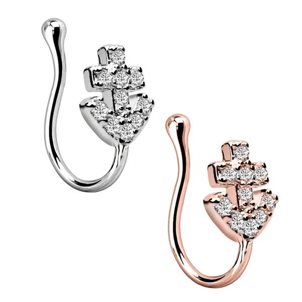 1PC Amazing Fashion Stainless Steel 5 Style Rose Gold Nose Clip Fake Nose Ring Faux Piercing Fake Septum Body Jewelry