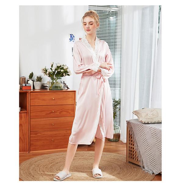 Simulación pijamas de seda damas primavera y verano bata de seda larga Bata de casa de manga larga casa de mujer túnicas de casa