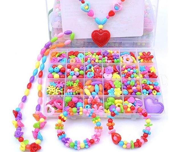 Kit de fabrication de bijoux bricolage coloré Pop perles ensemble créatif cadeaux faits à la main acrylique laçage ficelage collier bracelet artisanat pour enfants fille