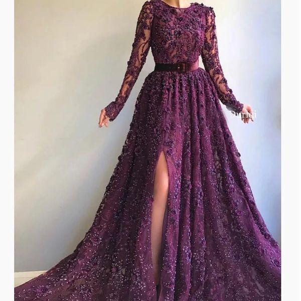 abiti da ballo Viola 2020 paillettes girocollo pizzo bordatura in pizzo abiti da sera manica lunga dei vestiti da partito arabo