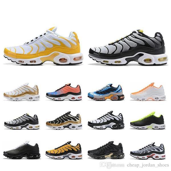 Orignal 2019 Tn Utral Yeşil Beyaz Sarı Eğitmenler Erkek Se Koşu Ayakkabıları Chaussures Atletik Spor Sneakers